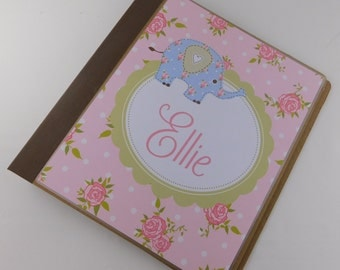 Chic Baby Book Personalized Girl Baby Memory Book Girl baby Book shabby elephant scrapbook 634