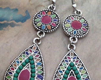Colorful unique dangle drop earrings, your choice of color
