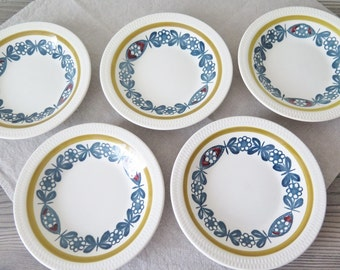Set of 5 Dessert Bowls Stavangerflint Kon Tiki by Inger Waage, 1950s Scandinavian Nordic Norway Design @130