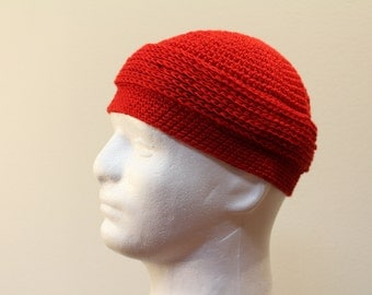 Hand stiched winter hat kufi red color