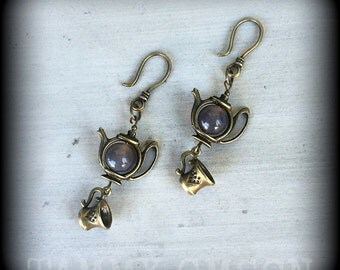 Tea pot Alice inspired Tea Party earrings Wanderlust Antiqued Bronze Alice inspired 'Tea Party' earrings pierced ears or stretched lobes