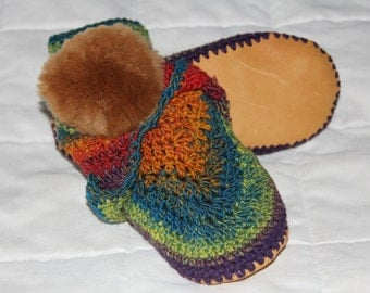 Lady's striped crochet double cuff boots with sheepskin lining, leather soles, crochet slippers, women's slippers, sizes 5 - 11, Optimisitc