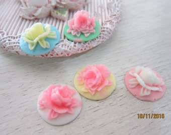 Set of 4pieces-Shabby Chic Resin Rose/NEB77-Resin Rose Cabochons/