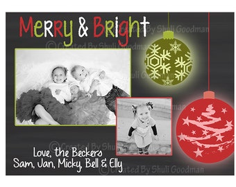 Christmas cards, christmas greeting, xmas invite,green red and white, christmas picture card, Happy holidays, mary christmas