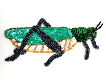 "Grasshopper Applique, Sequin Beaded, 6.5"" x 3.5""  -B211"