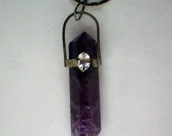 Amethyst Rock Crystal Pendant with Rhinestone - 4622