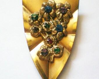 Floral Bouquet Gold Tone Fur / Dress Clip - 4760