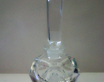 I Rice Clear Glass Art Deco Geometric Perfume Bottle - 4853