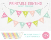 Printable Birthday Bunting - happy birthday, pennant, pennants, pastel, birthday, diy, bunting, banner, prtinable