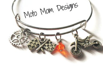 Motocross Bangle Bracelet - Motocross Jewelry - Dirt Bike - Motocross Bracelet - Racing Jewelry - Checkered Flag - Dirt Track - Quad