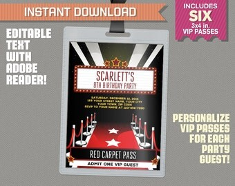 Red Carpet Party Pass printable Insert - Red Carpet Birthday, Red Carpet Party Vip Pass - Edit and print at home with Adobe Reader!