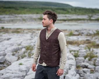 Rustic Brown Tweed Vest, Vest, Tweed, Wool Waistcoat, Wedding Waistcoat, Alternative Wedding Waistcoat, Brass Buttons.