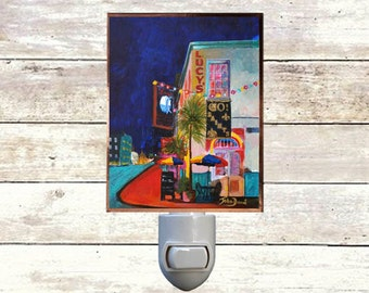 "Night Light, ""Lucys Retired Surfers Bar"", New Orleans Icons,  Handmade, Copper Foiled"