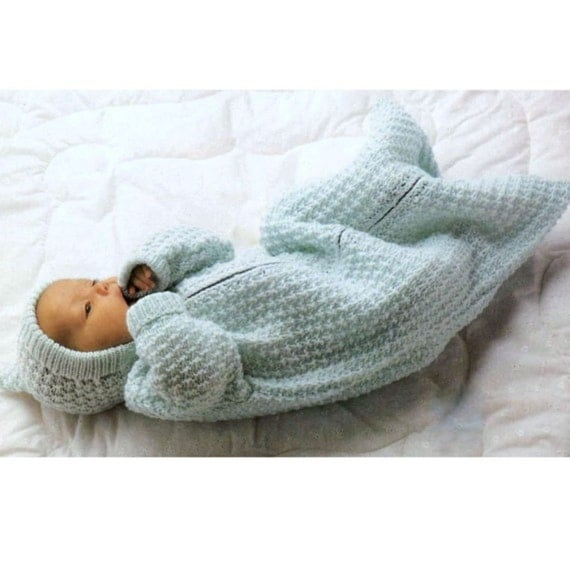 Knitting Pattern Sleeping Bag Baby : Knitting Pattern Baby Sleeping Bag Pixie Hood Cocoon Sleep