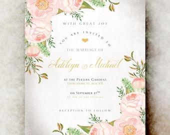 Blush Wedding Invitation - wedding invitation set, elegant wedding invitation, printable wedding invitation, winter wedding invitation
