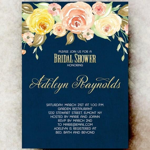 Navy Blue Bridal Shower Invitation Printable Yellow Bridal