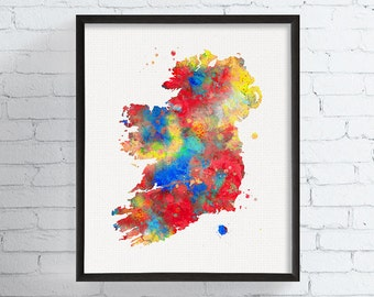 Ireland Map, Ireland Print, Ireland Poster, Ireland Art, Map Of Ireland, Watercolor Map, Country Map, Map Poster, Ireland Painting,, Framed