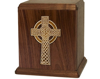 Walnut Celtic Cross Wood Cremation Urn