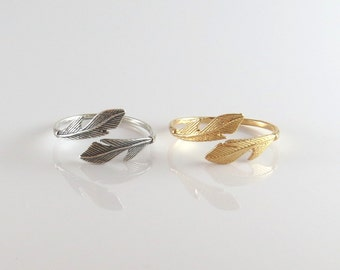 2 Feather adjustable rings , gold feather ring , silver feather ring , leaf ring