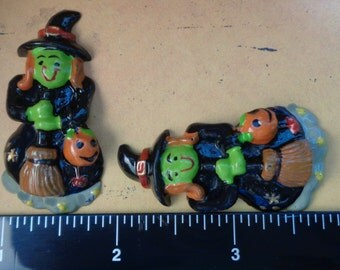 "1 Each 1"" x 1.5"" Halloween Witch Flat Back Resin Embellishment"