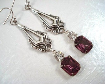 Purple Swarovski Crystal Earrings Art Deco 1920's Jewelry