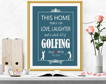 Golf Decor, Personalized Golf Art Print, Gift for the Couple, Anniversary Gift, Wedding Gift, Golf Sign, Custom Gift for Wedding