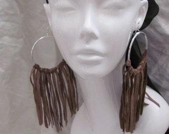 """Earrings Beautiful Brown Leather Suede Fringe Hoop Earrings 7"""" Long (#11)"""