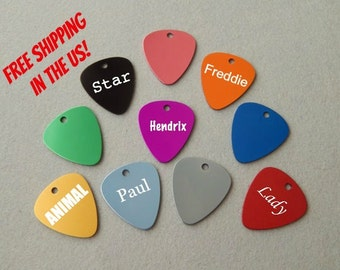 Laser Engraved Guitar Pick Pet Tag - Personalized Guitar Pick Tag - Engraved Dog Tag Cat Tag - Custom Guitar Pick - Gift for Musician