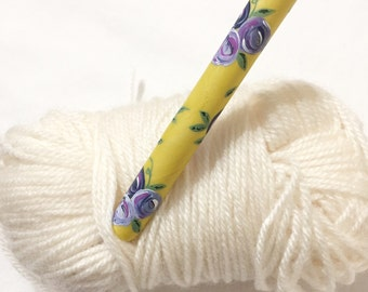 flower crochet hook, purple and yellow painted rose crochet hook, ergonomic crochet hook, unique crochet supplies