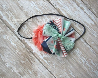 Coral mint and navy headband, coral navy mint, coral navy mint, coral headband, mint headband, navy and coral, coral and mint, aqua headband