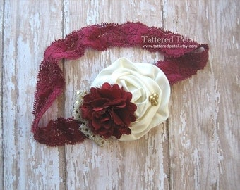 Ivory and burgundy headband, burgundy and gold headband, Christmas headband, burgundy headband, burgundy and ivory, maroon, gold glitter