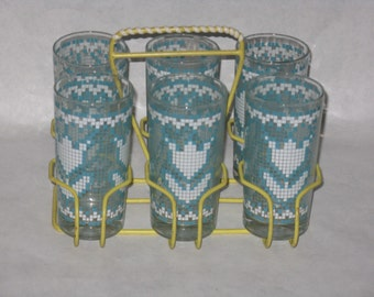 Mid Century Modern drinking glasses set with carrier blue & white tulip pattern yellow carrier