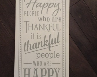 Happy People Are Thankful People, Hand Painted Sign by, IzzyB Vintage Me
