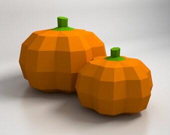 Pumpkin Halloween Decorations - 3D papercraft model. Downloadable DIY template
