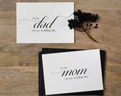 Wedding Card To My Mom + Dad Wedding Day - To My Parents Wedding Card, Wedding Stationery, To My Mom, Thank You Wedding Card, 2 Cards, K2