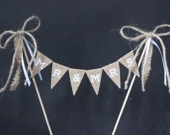 Wedding cake topper, Mr & Mrs cake topper, hessian cake bunting with white letters, cake banner, cake flags, cake decoration
