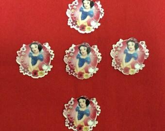 Set of 5 Snow White Resin