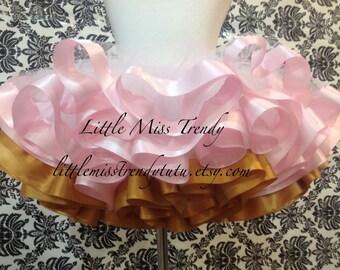 Pink and Gold Ribbon Trim Tutu, Pink Gold Tutu, Ribbon Tutu, Pink Gold Cake Smash, Pink Gold Birthday Tutu, Tutu, Girls Tutu, Couture Tutu