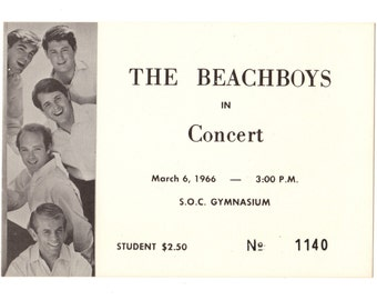 THE BEACH BOYS Concert Ticket Stub Ashland Oregon 1966 College Gymnasium Rare