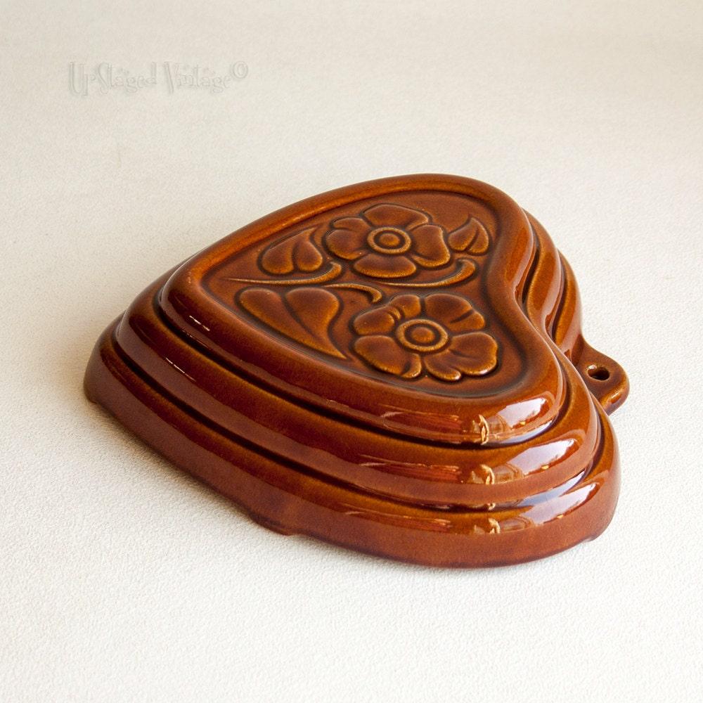 vintage west german ceramic gugelhupf pastry mould in heart shape bundt cake from. Black Bedroom Furniture Sets. Home Design Ideas