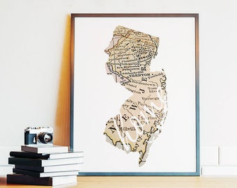 New Jersey, New Jersey Wall Art, New Jersey Map, Home Sign, NJ State Printable, Vintage Map, Housewarming, 8x10, PRINTABLE, Digital Download
