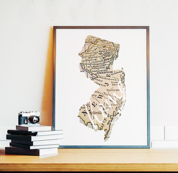 New Jersey New Jersey Wall Art New Jersey Map Home Sign Nj