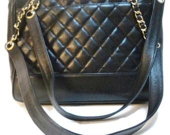 Vintage Chanel Black Caviar Leather Purse Shoulder Bag Authentic Rare
