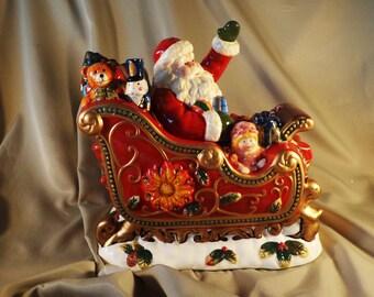 Cookie Jar SLEIGH ~  Santa Claus, Christmas, Toys. by Mercuries