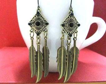 SALE! Bronze Feather Earrings, Bronze Earrings, Feather Jewellery, Feather Dangle Earrings, Bronze Feathers, Boho Earrings, Hippie Earrings