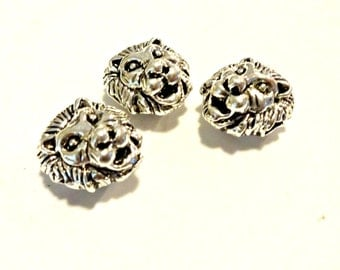 Silver Lion Head Bead, 3 Tibetan Style Alloy Masculine Lion Head Beads, Antique Silver, 12x13x9.5mm, 12 mm Bead, Hole: 2mm, Jewelry Supplies