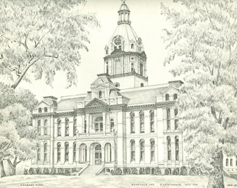 Five Unframed Pencil Drawings by Barbara Flock, Parke County Indiana Artist