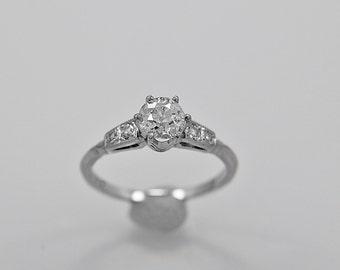 Antique Engagement Ring .60ct. Diamond & Platinum Art Deco - J35761