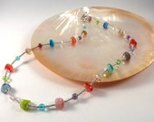 Colourful Necklace - Glass Necklace - Blue Necklace - Green Necklace -  Silver Necklace -E 137 N