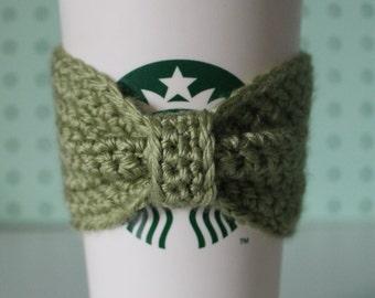 Crocheted Bow Coffee Sleeve- GREEN